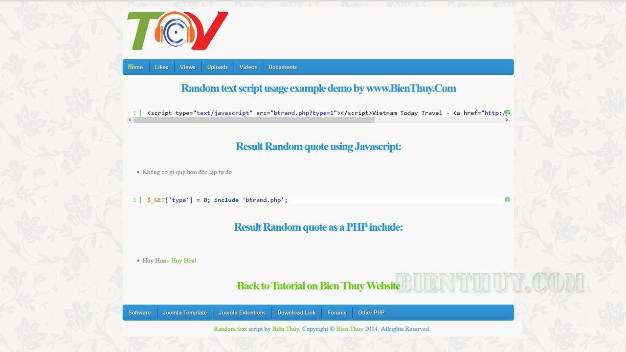 PHP Random Quotes – Random Text script