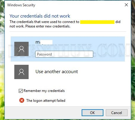 "How to fix ""your credentials did not work"" on Windows 10"