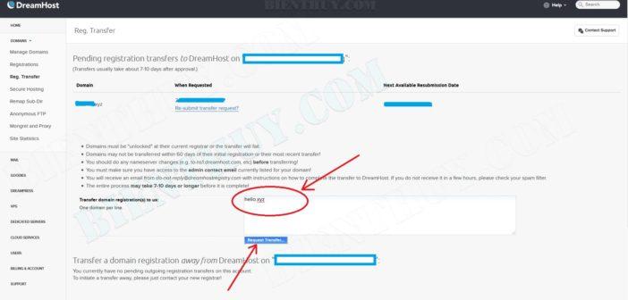 Transfer domain .xyz về dreamhost chỉ $1.95