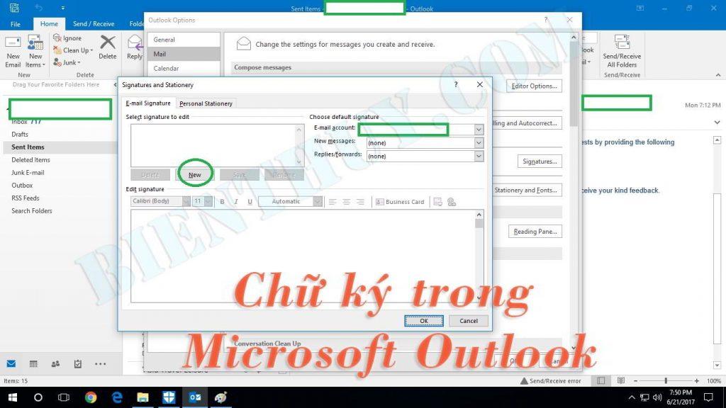 Cách cài đặt chữ ký trong Outlook