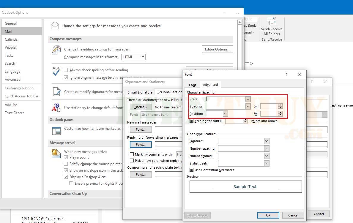 Điều chỉnh dãn cách dòng trong Outlook