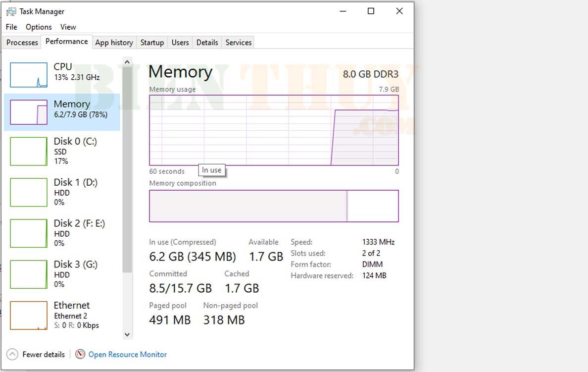Kiểm tra tình trạng bộ nhớ trên máy tính Windows