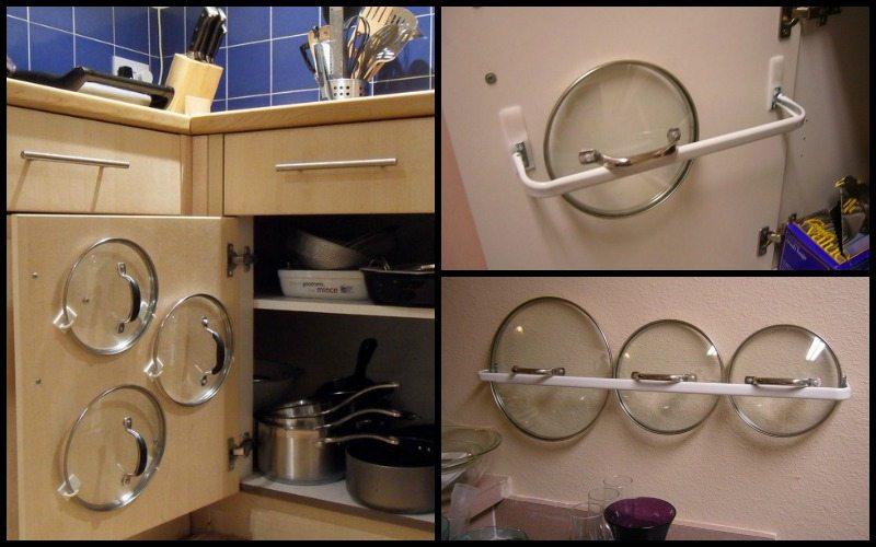 Mẹo vặt nấu ăn: Treo vung nồi lên cánh tủ bếp