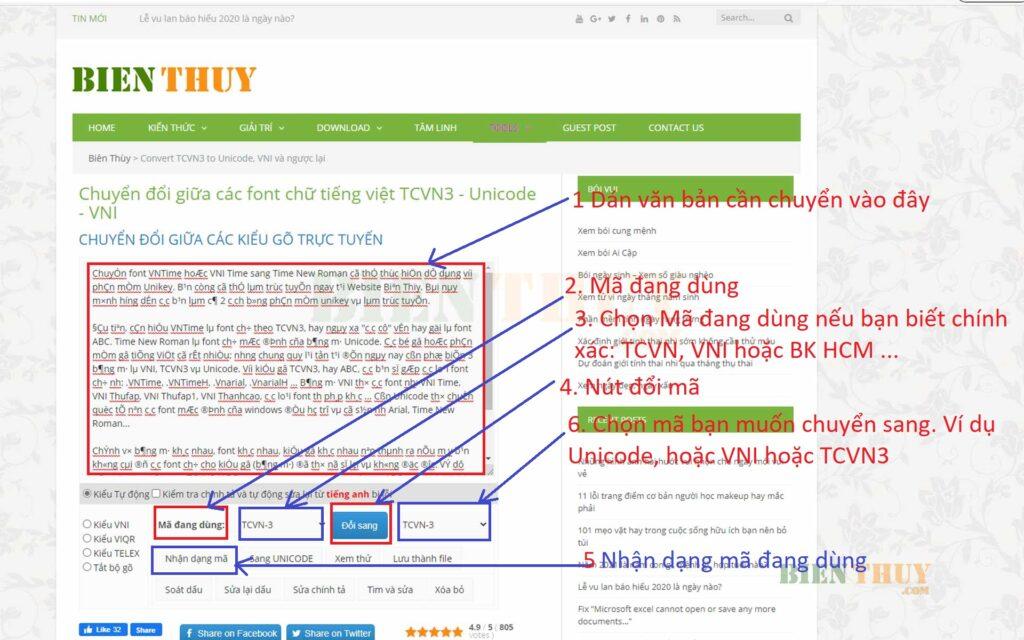 Hướng dẫn chuyển mã font chữ VNtime sang Unicode Online